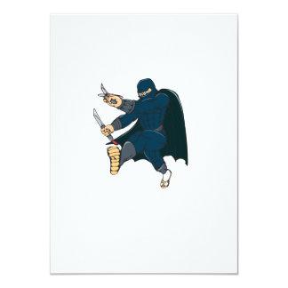 """Ninja enmascaró al guerrero que golpeaba el dibujo invitación 4.5"""" x 6.25"""""""