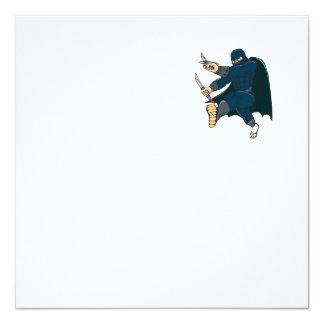 """Ninja enmascaró al guerrero que golpeaba el dibujo invitación 5.25"""" x 5.25"""""""