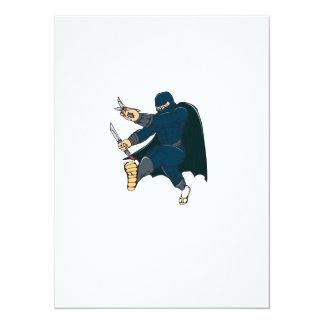 """Ninja enmascaró al guerrero que golpeaba el dibujo invitación 5.5"""" x 7.5"""""""