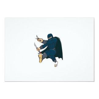 """Ninja enmascaró al guerrero que golpeaba el dibujo invitación 5"""" x 7"""""""