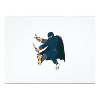 """Ninja enmascaró al guerrero que golpeaba el dibujo invitación 6.5"""" x 8.75"""""""