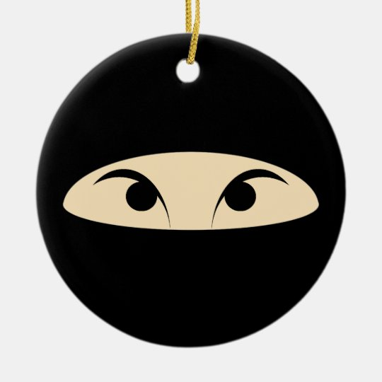 Ninja Face Ceramic Ornament