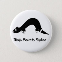 Ninja Ferret White Button