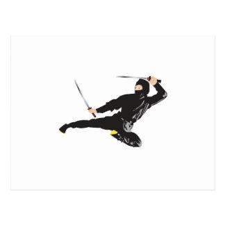 Ninja flying kick postcard