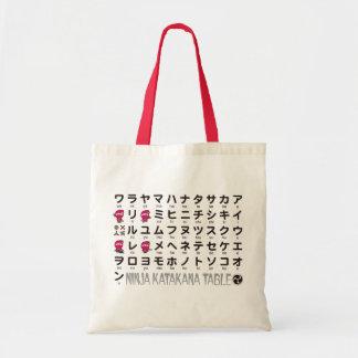 Ninja Girl Japanese Katakana table Tote Bag