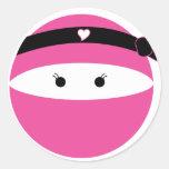 Ninja Girl Round Sticker