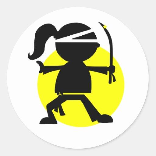 Ninja Girl Round Stickers