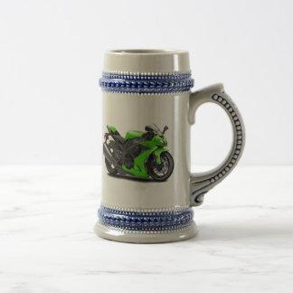 Ninja Green Bike Beer Stein