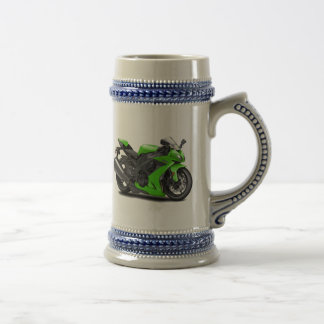 Ninja Green Bike 18 Oz Beer Stein