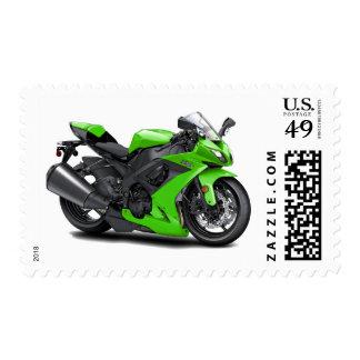 Ninja Green Bike Postage Stamps