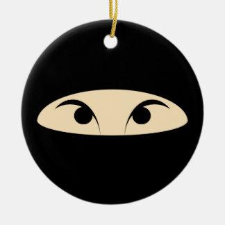 Ninja hace frente adorno navideño redondo de cerámica