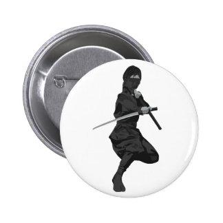 Ninja in Fighting Stance Holding Katana Sword Pinback Buttons