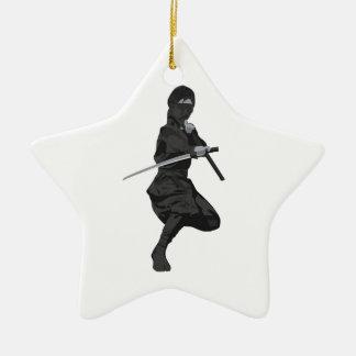 Ninja in Fighting Stance Holding Katana Sword Ceramic Ornament