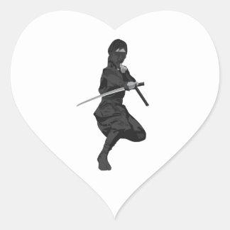 Ninja in Fighting Stance Holding Katana Sword Heart Sticker