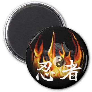 Ninja in Fire 2 Inch Round Magnet