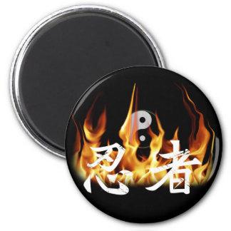 Ninja in Fire Fridge Magnet