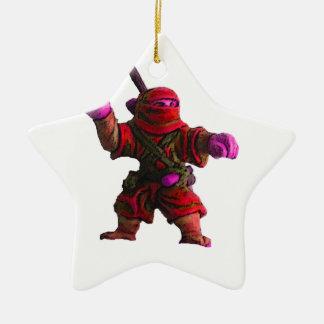 Ninja in Red Ceramic Ornament