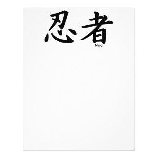 Ninja kanji  arts mercenary letters black white ka full color flyer