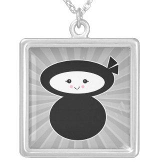 ninja kawaii dolly square pendant necklace