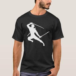 Ninja Kick - white on black T-Shirt