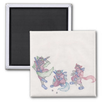 ninja kitties 2 inch square magnet