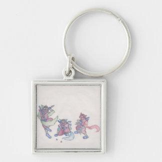 ninja kitties Silver-Colored square keychain