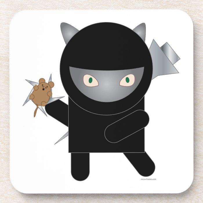 Ninja Kitty Cork Coaster
