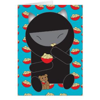 Ninja Kitty Eating Noodles Card