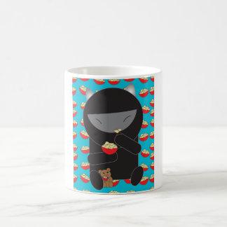 Ninja Kitty Eating Noodles Coffee Mug