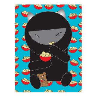Ninja Kitty Eating Noodles Postcard