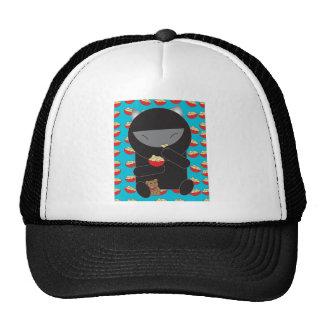 Ninja Kitty Eating Noodles Trucker Hat