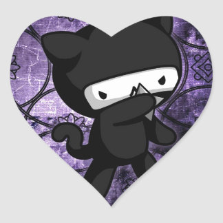 Ninja Kitty Heart Sticker