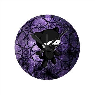 Ninja Kitty Round Clock