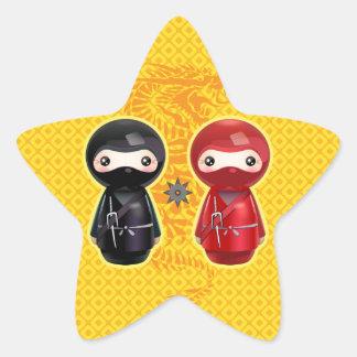 Ninja Kokeshi Pegatina En Forma De Estrella