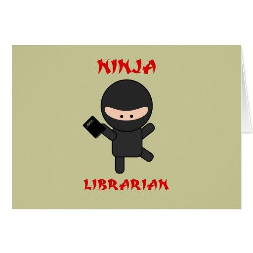 Ninja Librarian with Book Greeting Card