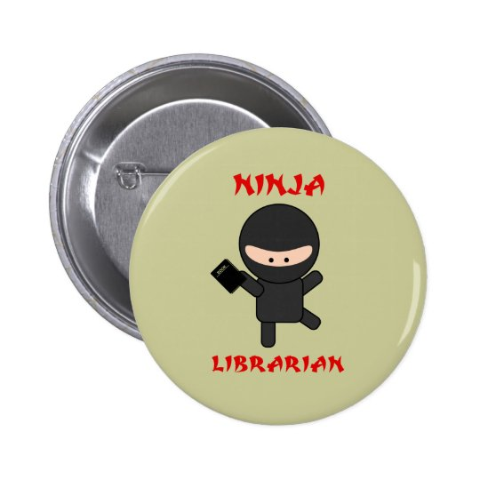 Ninja Librarian with Book Pinback Button