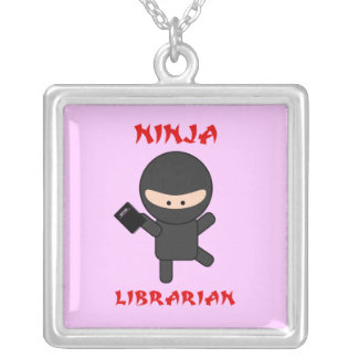Ninja Librarian With Book Square Pendant Necklace