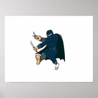 Ninja Masked Warrior Kicking Cartoon Poster