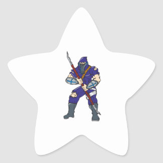 Ninja Masked Warrior Spear Cartoon Star Sticker