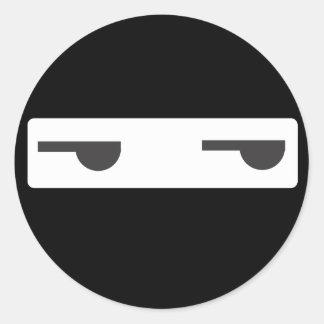 ninja minimalista pegatina redonda