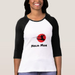 Ninja Mom Ladies Long Sleeve Baseball Tee T-shirt