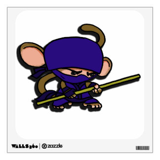 Ninja Monkey with Bo Staff Wall Decal