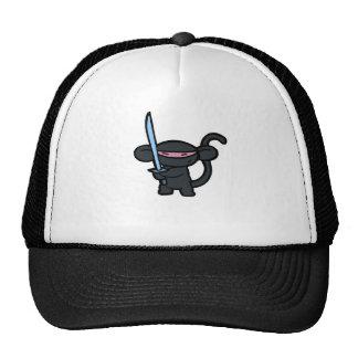 Ninja negro con la espada ningunas palabras gorros