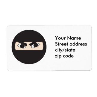 Ninja negro etiqueta de envío