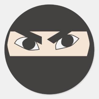 Ninja negro pegatinas redondas