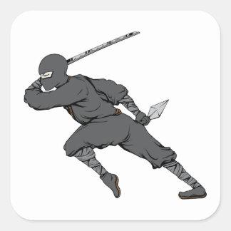 Ninja ~ Ninjas 7 Martial Arts Warrior Fantasy Art Square Sticker