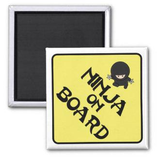 Ninja on Board 2 Inch Square Magnet