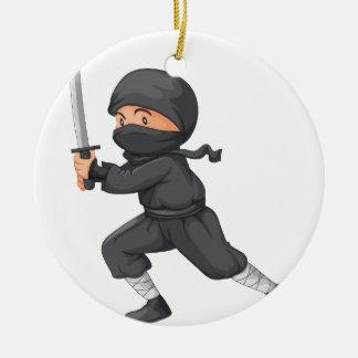 Ninja on white Double-Sided ceramic round christmas ornament