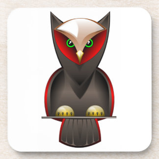 Ninja Owl in Red Green and Brown Drink Coaster
