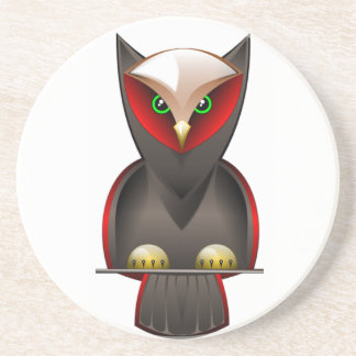 Ninja Owl in Red Green and Brown Sandstone Coaster